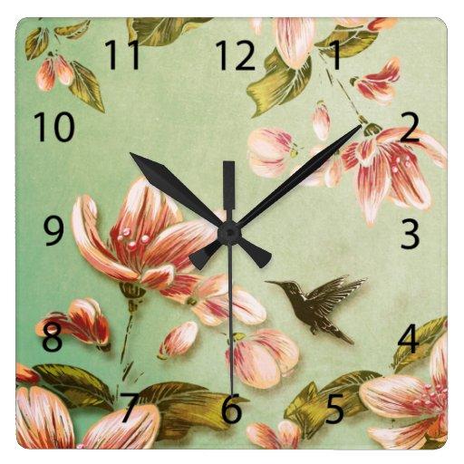 Vintage rosado de las azaleas en la niebla verde reloj cuadrado