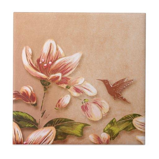 Vintage rosado de las azaleas floral en el boda de teja