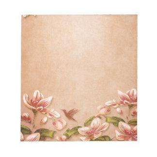 Vintage rosado de las azaleas floral en el boda de bloc de notas