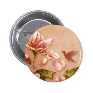 Vintage rosado de las azaleas floral en el boda de pin redondo 5 cm