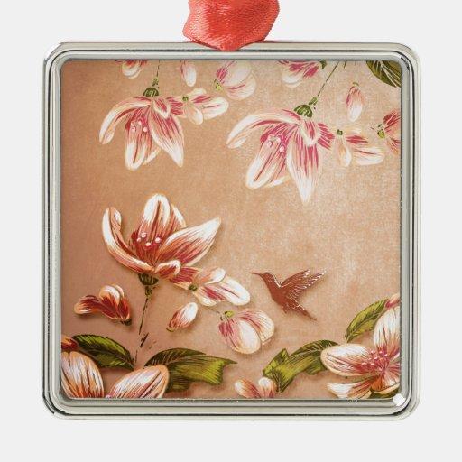 Vintage rosado de las azaleas floral en el whisky adorno de navidad