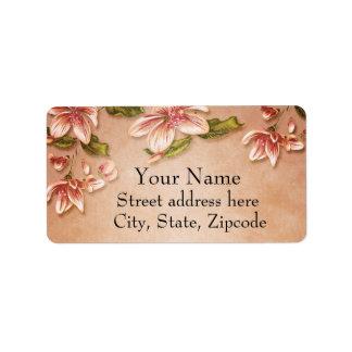 Vintage rosado de las azaleas floral en el whisky etiquetas de dirección