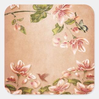 Vintage rosado de las azaleas floral en el whisky calcomania cuadradas personalizadas