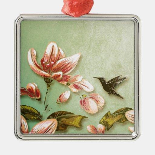 Vintage rosado de las azaleas floral en la niebla  ornamento para arbol de navidad
