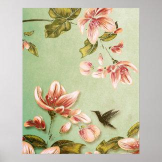 Vintage rosado de las azaleas floral en la niebla  posters