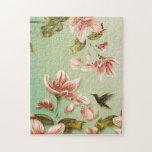 Vintage rosado de las azaleas floral en la niebla  rompecabezas con fotos
