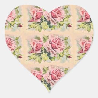 Vintage rosado de los rosas floral pegatina en forma de corazón