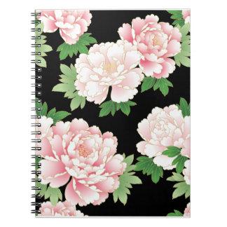 Vintage rosado hermoso del Peony floral Libro De Apuntes Con Espiral