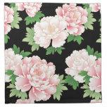 Vintage rosado hermoso del Peony floral Servilleta