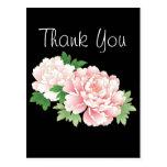 Vintage rosado hermoso del Peony floral Tarjetas Postales