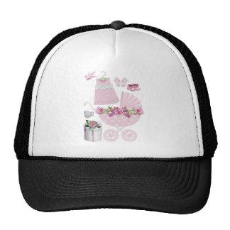 Vintage rosado su un chica gorras de camionero