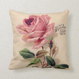 Vintage rosado subió cojín decorativo