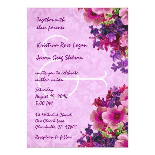 """Vintage rosado y flores púrpuras que casan R509 Invitación 4.5"""" X 6.25"""""""
