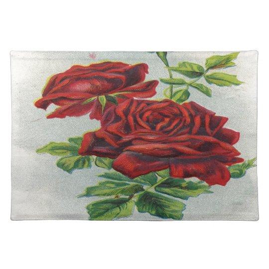 Vintage, rosas rojos, cumpleaños de la novia manteles