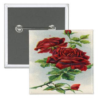 Vintage rosas rojos cumpleaños de la novia pin