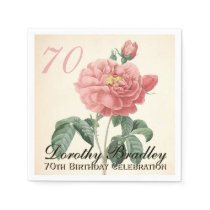Vintage Rose 70th Birthday Party Paper Napkins