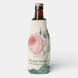 Vintage Rose 75th Birthday Celebration Bottle Bottle Cooler