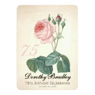 "Vintage Rose 75th Birthday Celebration Custom 5"" X 7"" Invitation Card"