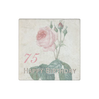 Vintage Rose 75th Birthday Celebration - Magnet Stone Magnet