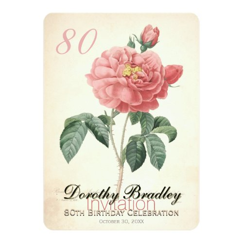 Vintage Rose 80th Birthday Celebration Custom Invitation