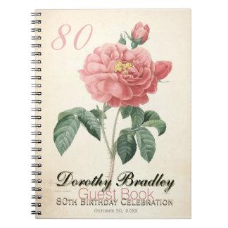 Vintage Rose 80th Birthday Celebration Guest Book Spiral Note Books
