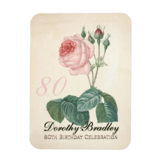 Vintage Rose 80th Birthday Celebration - Magnet