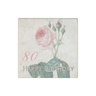 Vintage Rose 80th Birthday Celebration - Magnet Stone Magnet