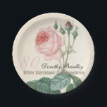 "Vintage Rose 80th Birthday Celebration Paper Plate<br><div class=""desc"">Customizable Birthday Celebration Paper Plates with Vintage Botanical Watercolors by Pierre-Joseph Redout&#233;. You can easily change text color, font, size and position by clicking the customize button.&quot;Pierre-Joseph Redout&#233; (10 July 1759 in Saint-Hubert, Belgium – 19 June 1840 in Paris), was a Belgian painter and botanist, known for his watercolours of...</div>"