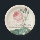 """Vintage Rose 80th Birthday Celebration Paper Plate<br><div class=""""desc"""">Customizable Birthday Celebration Paper Plates with Vintage Botanical Watercolors by Pierre-Joseph Redout&#233;. You can easily change text color, font, size and position by clicking the customize button.&quot;Pierre-Joseph Redout&#233; (10 July 1759 in Saint-Hubert, Belgium – 19 June 1840 in Paris), was a Belgian painter and botanist, known for his watercolours of...</div>"""