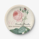 Vintage Rose 80th Birthday Celebration Paper Plate 7 Inch Paper Plate