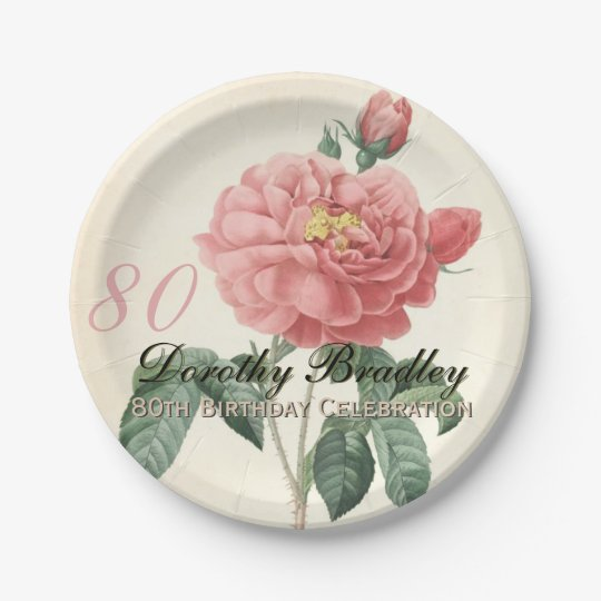 Vintage Rose 80th Birthday Party Paper Plates 2 | Zazzle.com