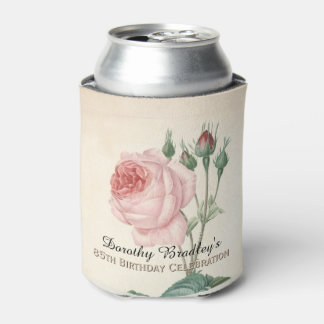 Vintage Rose 85th Birthday Celebration Can Cooler
