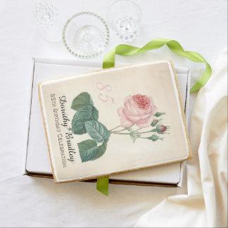 Vintage Rose 85th Birthday Celebration Party - Shortbread Cookie