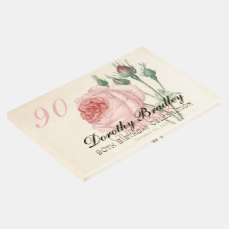 Vintage Rose 90th Birthday Celebration Guest Book