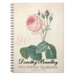 Vintage Rose 90th Birthday Celebration Guest Book Spiral Note Books