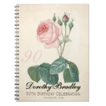 Vintage Rose 90th Birthday Celebration Guest Book Spiral Notebook