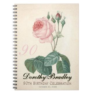 Vintage Rose 90th Birthday Celebration GuestBook Notebook