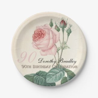 Vintage Rose 90th Birthday Celebration Paper Plate