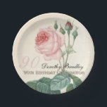 "Vintage Rose 90th Birthday Celebration Paper Plate<br><div class=""desc"">Customizable 90th Birthday Celebration Paper Plates with Vintage Botanical Rose Watercolors by Pierre-Joseph Redout&#233;. Big pink number and script lettering for the name and double lettering (light yellow copper gold to cretate a shadow effect) for &quot;Birthday celebration&quot;. You can easily change text color, font, size and position by clicking the...</div>"
