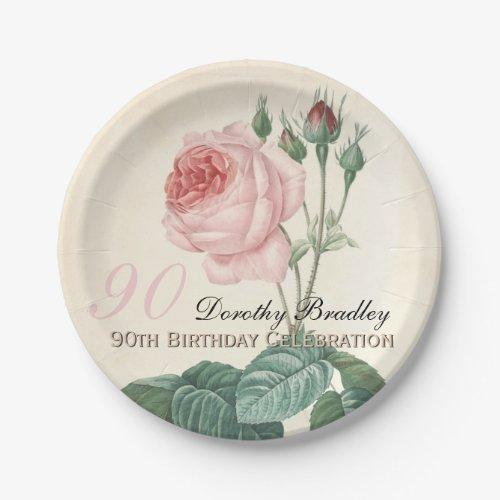 Vintage Rose 90th Birthday Celebration Paper Plate