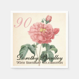 Vintage Rose 90th Birthday Party Paper Napkins at Zazzle