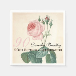 Vintage Rose 90th Birthday Party Paper Napkins