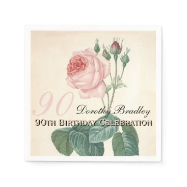 birthday Vintage Rose 90th Birthday Party Paper Napkins