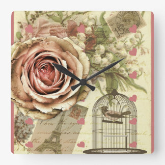 Vintage Rose and Birdcage Wall Clock