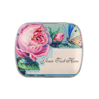 Vintage Rose and Butterfly Jelly Belly Candy Tins