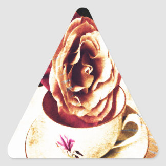 Vintage Rose and Cup Triangle Sticker