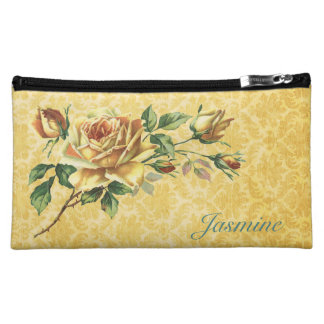 Vintage Rose and Damask Personalized Cosmetic Bag