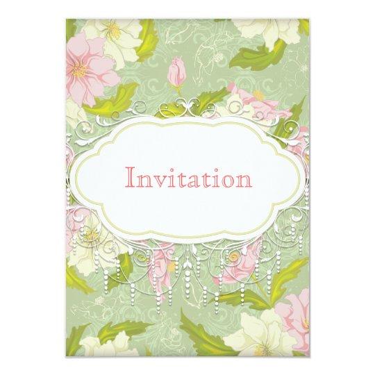 vintage rose and green wedding invitation