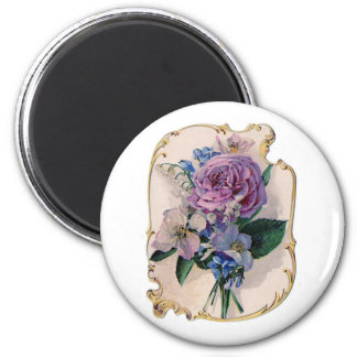 Vintage Rose and Lily of the Valley 2 Inch Round Magnet