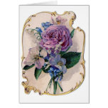 Vintage Rose and Lily of the Valley Card